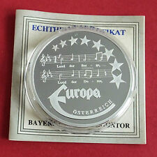 AUSTRIA 1997 EUROPE COMMEMORATIVE 40mm .999 FINE SILVER PROOF MEDAL B - coa