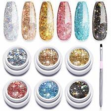 Modelones Set 6 Color Glitter Gel Nail Polish + Painting Pen,Soak Off UV LED