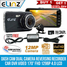 "Dash Cam Dual Camera Reversing Recorder Car DVR Video 170° FHD 1296P 4"" LCD 32GB"