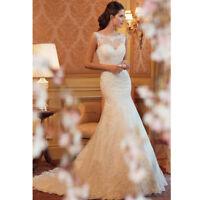 Magic White ivory Mermaid lace Wedding Dress Bridal Gown stock 6 8 10 12 14 16