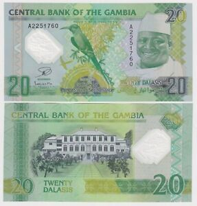 GAMBIA 20 DALASIS (2014) P-30 COMMEMORATIVE POLYMER UNC BANKNOTE