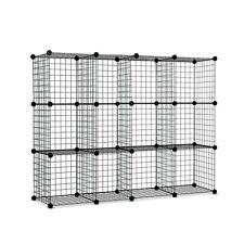 12 Cube Mesh Wire Storage Cabinet Wardrobe Insert Clothing Organiser