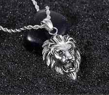 """24"""" New Jewellery Gift Men's 316L Stainless Steel Lion Head Pendant Necklace"""
