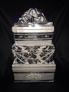Wedding Money Box/ card box/ Money Gift Box/ Wedding Box Black and White