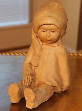 Vintage Dave Grossman Designs Figurine Sculpture Statue Seated Girl w/Hat