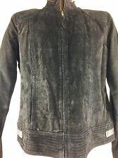 Vintage Women's Black Leather Jacket Coat Boho Rocker Punk 70s 80s 90s L