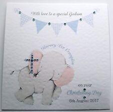 Personalised Boy Christening Card - Godson, Grandson, Nephew, Son - Elephant