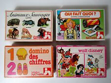 Fernand Nathan 4 anciens jeux loto domino Disney animaux
