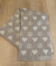 MOSCHINO Merino Wool Scarf ~Love & Peace Reversible ~Cream + Oatmeal ITALY