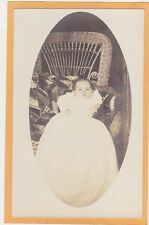 Real Photo Postcard RPPC - Baby on Crazy Quilt on Rattan Chair - Sewing