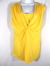 Motherwood Maternity Size L Blouse Yellow Sleeveless Women's Ruffled Front Shirt