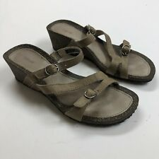 Teva Beige Leather Strappy Sandals Women's Size 7 Wedge Outdoor Casual Shoes
