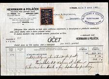 "PRAHA / PRAZE (TCHEQUIE) METALLURGIE ""HERRMANN & POLACEK"" Timbrée en 1921"