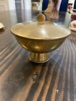Vintage Art Deco Modern THE KONST YSTAD METALL Brass Sweden Bowl With Lid Style