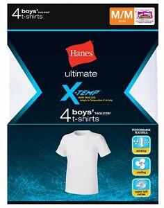Hanes®  BIG Boys' Ultimate X-TEMP® TAGLESS® White Crew T-Shirt  2/4-Pack   NEW!!