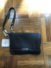 Coach wristlet wallet Black With Logo And Stich Detail NWT
