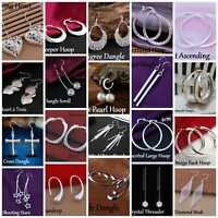 925 Sterling Silver Drop Dangle Hoop Earrings Large Earrings Women girls