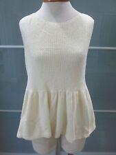 Zara Knit Sleeveless Exposed Back Zipper Peplum Hem Knit Top Size L