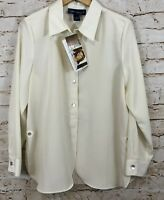 Susan Graver big shirt button blouse womens large NEW peachskin ivory A70411 F4