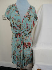 BNWOT TURQUOISE FLORAL PRINT V NECK FRONT KNOT DRESS BY JOE BROWNS SIZE 18