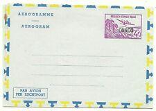 "BELGIUM CONGO: Aerogramme 4Fr. overprint ""CONGO"" (black) /1960?/ mint"