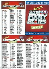 2016 Select Footy Stars CHECK LISTS (4 cards)
