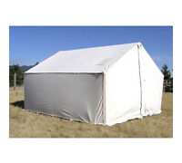 12' x 14' Canvas Wall Tent - Water & Mildew Treated 10.1 oz Army Duck Canvas