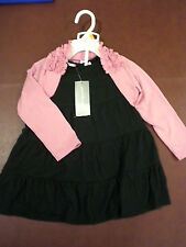 Baby Girls Size 24Months (3) Black ruffle dress w/ pink shrug