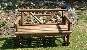 new hand made rustic 2 seater  bench v back