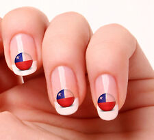 20 Nail Art Decals Transfers Stickers #456 - World Cup Chile flag icon