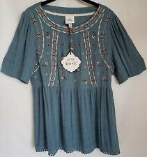 Knox Rose Medium Womens Boho Peasant Top Embroidered Retail D1