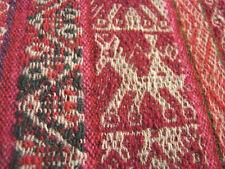 "Vintage Indian Peru Bolivia LLICLLA  Textile WOOL Figural 38x37"" Reds Weaving"