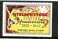 Vintage Poster Stamp Label YELLOWSTONE NATIONAL PARK 1947 Diamond Jubilee