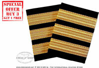 New 3 Bar Gold Airline Pilot Epaulette First Officer F/O Shoulders Boards Rank