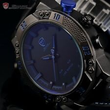 Kitefin SHARK LED Digital Blue Date Day Leather Men Analog Army Sport Watch