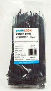 8 inch 100PCS Nylon Wire Zip Ties Cable Ties UV Black 50lbs Self-locking Wraps