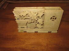 Chinese Carved Celadon Yell/Grn Card/Pen Holder-Ornate Detail on this one-NICE!!