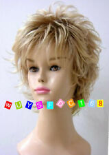 Ladies Women's fashion short Blonde Curly Natural Hair Wigs + wig cap