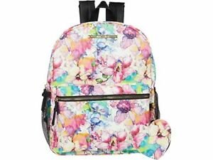 Betsey Johnson Backpack Floral Print Pebble Trim + Heart Pouch SEALED PACKAGE