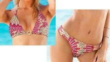 NWT Victoria's Secret Bikini Red Paisley Extremely Padded Triangle Gold Toggle