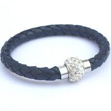 NEW Leather Wrap Wristband Cuff Punk Bangle Magnetic Rhinestone Buckle Bracelet