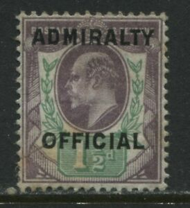 KEVII 1903 1 1/2d Admiralty Official mint o.g.