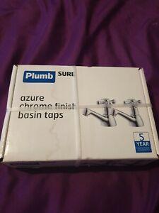PLUMB SURE AZURE  CHROME FINISH BASIN TAPS CROSS HEADED IN BOX NEW