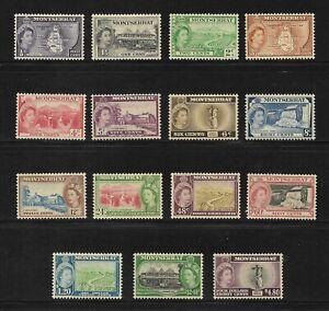 1953-1958 SET MONTSERRAT POSTAGE STAMPS - MLH SG 136-149 COMMONWEALTH QEII.