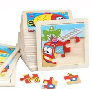 NEW Kids Wooden Jigsaw Puzzle Toy Children Cute Creatures & Vehicle Educational