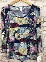 LuLaRoe shirt Lynnae womens small floral new long sleeve blue pink top R1