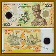 Brunei 20 Ringgit, 2007 P-34 Sultan 40 Years Commemorative Polymer Unc