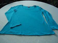 Woman JENNI Top Intimates Sz XL Blue Aqua Color Long Sleeve Low Round Neck