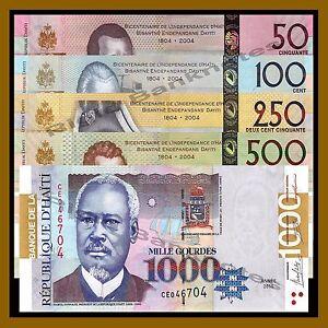 Haiti 50 100 250 500 1000 Gourdes (5 Pcs Set), 2014- 2016 P-274-/278 Unc