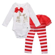 Toddle Infant Baby Girl 1st Christmas Outfit Deer Bowknot Romper &Striped Pants